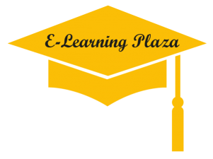 e learning plaza logo hoed, geel